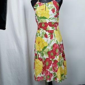 Loft Silk Flower Printed Dress Size 2
